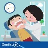 Zahnarztstuhl während eines zahnmedizinischen Vektors Stockbilder