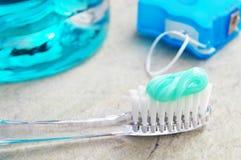Zahnbürste usw. Lizenzfreies Stockbild
