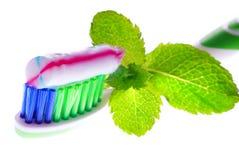 Zahnbürste, Zahnpasta Stockfotografie