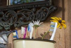 Zahnbürsten auf einer Wanne lizenzfreies stockfoto
