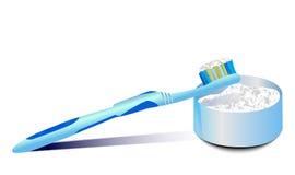 Zahnbürsten- und Zahnpulver Stockfotografie
