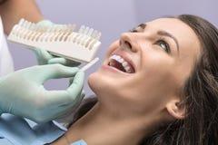 Zahnfarbvergleich Stockbilder