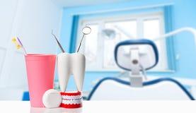 Zahngesundheits- und teethcarekonzept Zahnmedizinisches Spiegel- und Forscherinstrument im weißen Zahnmodell, im menschlichen Kie stockfoto