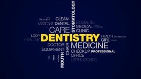 Zahnheilkundemedizinsorgfaltstomatologiekarieszahnweißungsgesundheitswesenzahnarzt-Mundhygiene belebte Wortwolke