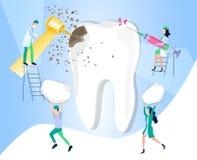 Zahnkaries Behandlung und Sorgfalt für Zahnschmerzen Medizinische Richtungszahnheilkunde Emaillieren Sie Störung, Zahninfektion vektor abbildung