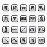 Zahnmedizin- und Zahnheilkundewerkzeugikonen Lizenzfreies Stockfoto