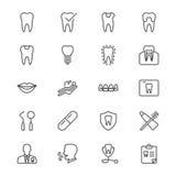 Zahnmedizinische dünne Ikonen Stockbilder