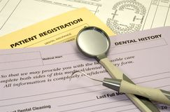 Zahnmedizinische Formulare Stockfoto