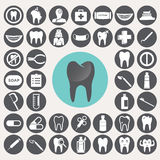 Zahnmedizinische Ikonen eingestellt Stockbild