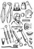Zahnmedizinische Instrumente und Ausrüstung vektor abbildung