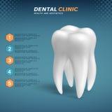 Zahnmedizinische Klinik infographic mit molarer Zahnikone vektor abbildung