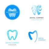 Zahnmedizinische Logoschablonen Abstrakte Vektorzahnzeichen Stockfotos