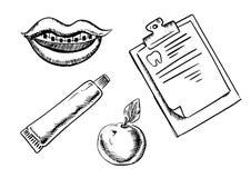 Zahnmedizinische und Hygieneskizzenikonen Lizenzfreie Stockbilder