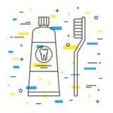 Zahnmedizinische Zahnbürste mit linearer Vektorillustration des Zahnpastarohrs Lizenzfreie Stockfotografie