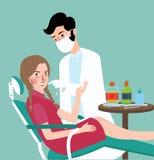 Zahnmedizinischer Experte des Zahnarztes mit seinem geduldigen doctoe mach's gut Behandlung Lizenzfreies Stockfoto