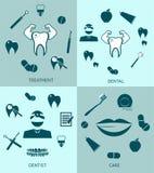 Zahnmedizinischer gesetzter Ikonenvektor-Schablonenentwurf stock abbildung