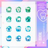 Zahnmedizinischer Ikonensatzvektor mit Negativ auf buntem Konzept Zahnmedizinische Klinikikone für Websiteelement, App, UI, infog lizenzfreie abbildung