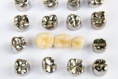 Zahnmedizinischer keramischer, Gold- und Metallzahn krönt auf weißem Hintergrund Stockfotografie