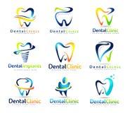 Zahnmedizinischer Zahnarzt Logo Set Lizenzfreie Stockfotografie
