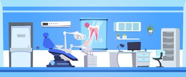 Zahnmedizinisches Büro-leerer Zahnarzt-Hospital Or Clinic-Innenraum Stockbilder