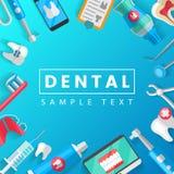Zahnmedizinisches Fahnen-Hintergrund-Konzept mit flachen Ikonen Vektor-Illustration, Zahnheilkunde, Orthodontie Gesund säubern Si Lizenzfreie Stockfotos