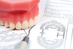 Zahnmedizinisches Formular Stockfotografie