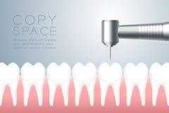 Zahnmedizinisches handpieces Instrument mit dem Zahn und Gummi, virtueller Entwurf der Illustration 3D lokalisiert auf grauem Ste vektor abbildung