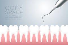 Zahnmedizinisches handpieces Instrument mit dem Zahn und Gummi, virtueller Entwurf der Illustration 3D lokalisiert auf grauem Ste lizenzfreie abbildung