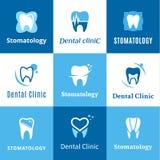 Zahnmedizinisches Klinik-Logo, Ikonen und Gestaltungselemente Stockfotografie
