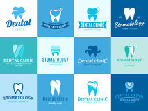 Zahnmedizinisches Klinik-Logo, Ikonen und Gestaltungselemente Stockbild