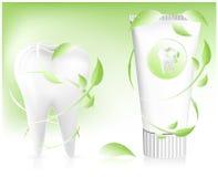 Zahnpasta mit Blättern. Stockbild