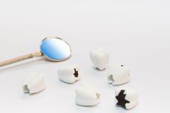 Zahnpflegekonzept auf weißem Hintergrund mit Spiegelzahnarztwerkzeug Stockfoto