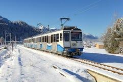 Zahnstangen-Gleis des Bayerische Zugspitzbahn Stockfoto