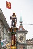 Zahringerbrunnen springbrunn, Bern Arkivfoton