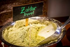 Zahtar or Zahtar. Arabic spice mixture. Of hyssop, sumac, sesame and salt, used in Middle Eastern stock image