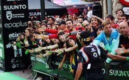 Zaid Ait Malek, arrive ultra à la ligne d'arrivée de course de Pirineu dans la deuxième position Photo libre de droits