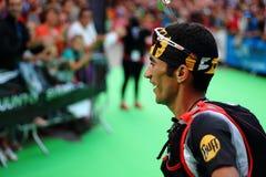 Zaid Ait Malek, komt aan Ultrapirineu-ras aan beëindigt lijn in tweede positie Stock Fotografie