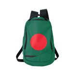 Zaino della bandiera del Bangladesh isolato su bianco fotografia stock