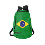 Zaino della bandiera del Brasile isolato su bianco Immagini Stock Libere da Diritti