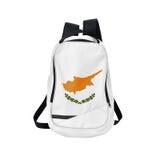 Zaino della bandiera del Cipro isolato su bianco immagine stock libera da diritti
