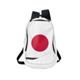 Zaino della bandiera del Giappone isolato su bianco fotografia stock libera da diritti