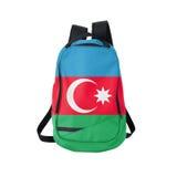 Zaino della bandiera dell'Azerbaigian isolato su bianco immagini stock libere da diritti