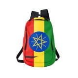 Zaino della bandiera dell'Etiopia isolato su bianco immagini stock libere da diritti