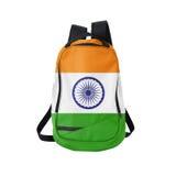 Zaino della bandiera dell'India isolato su bianco immagini stock