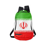 Zaino della bandiera dell'Iran isolato su bianco Immagine Stock