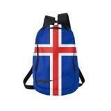 Zaino della bandiera dell'Islanda isolato su bianco fotografie stock libere da diritti