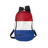 Zaino della bandiera dell'Olanda isolato su bianco immagini stock