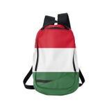 Zaino della bandiera dell'Ungheria isolato su bianco immagini stock libere da diritti