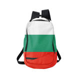 Zaino della bandiera della Bulgaria isolato su bianco fotografia stock