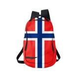 Zaino della bandiera della Norvegia isolato su bianco fotografie stock